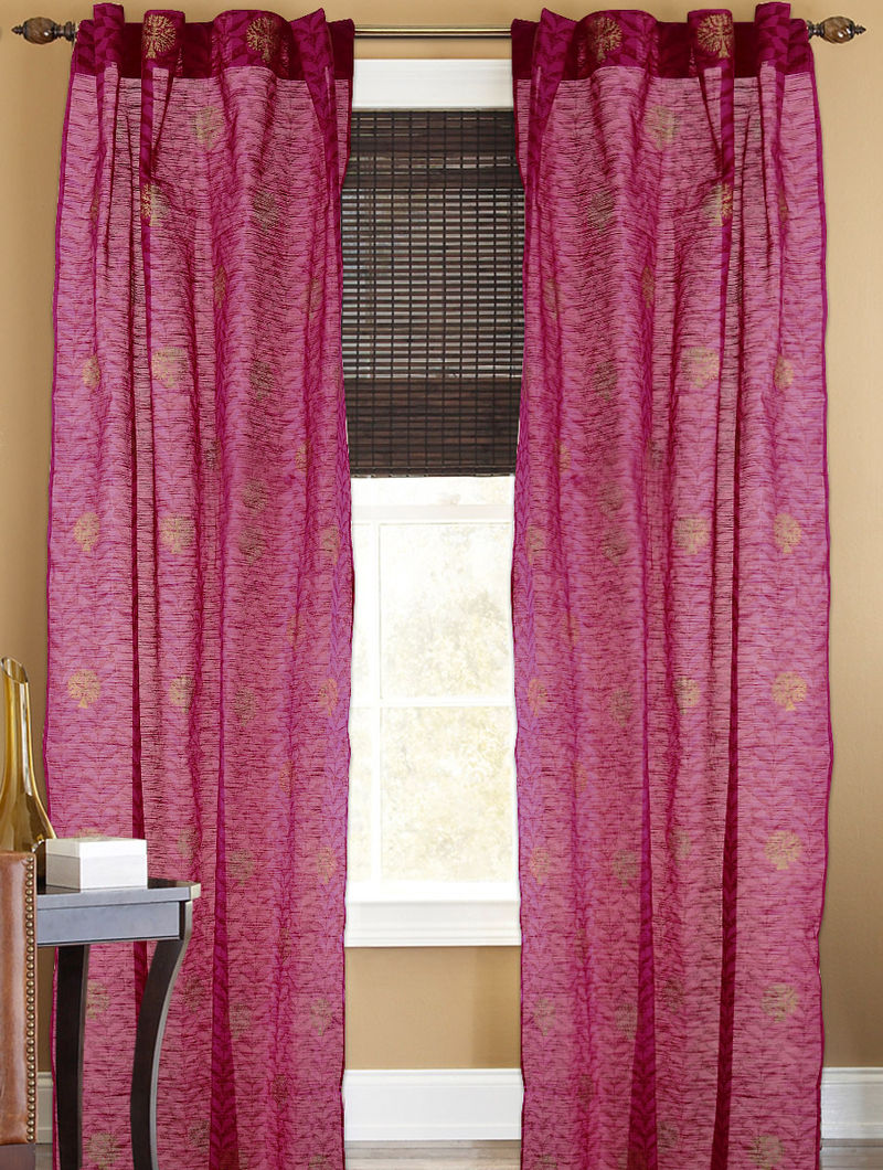 Fuschia-Golden Tree Boota Curtain - 105in x 44in
