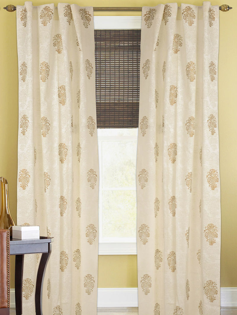 Ivory-Golden Dahlia Curtain - 105in x 44in