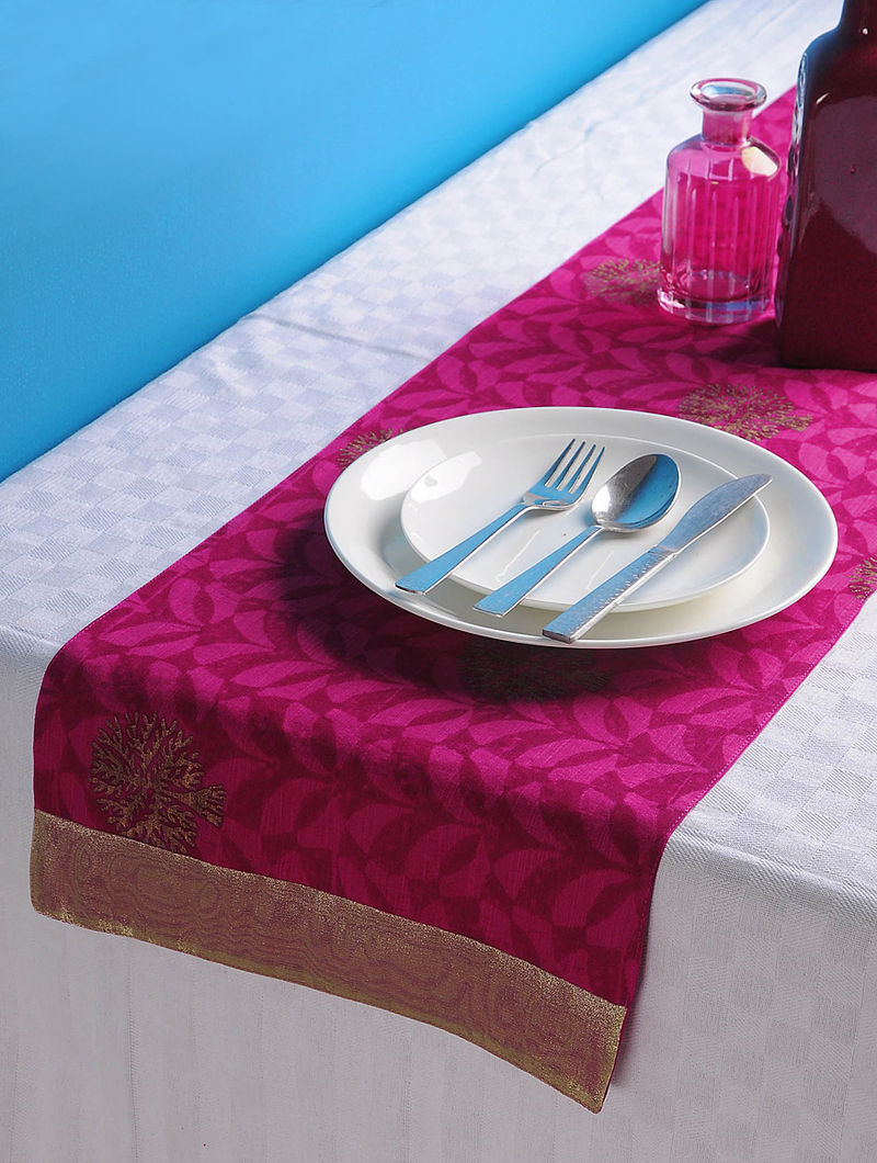Magenta-Golden Tree Table Runner 44in x 13in