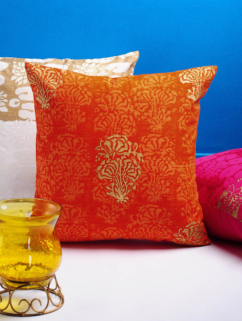 Orange-Golden Floral Cushion Cover 16in x 15.5in