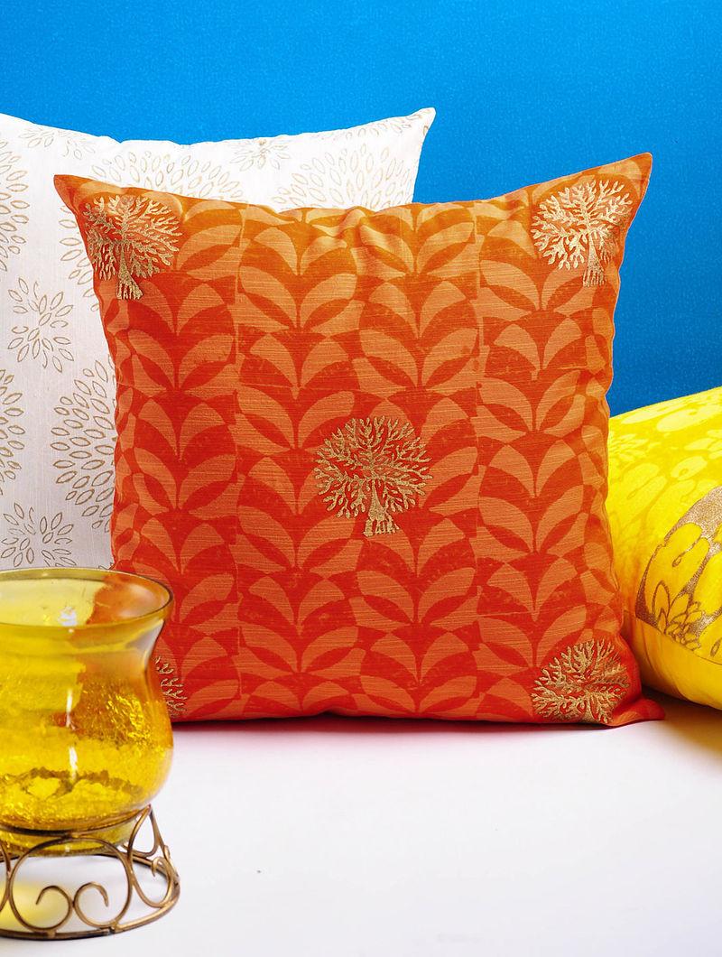 Orange-Golden Tree Cushion Cover 16in x 16in