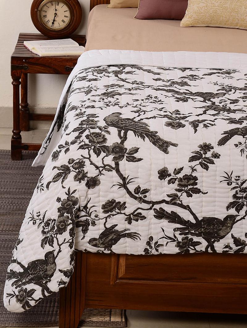 Birds-Floral White-Black Quilt 102in x 95in