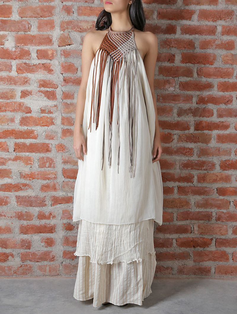 Off White Leather Chiffon Dress