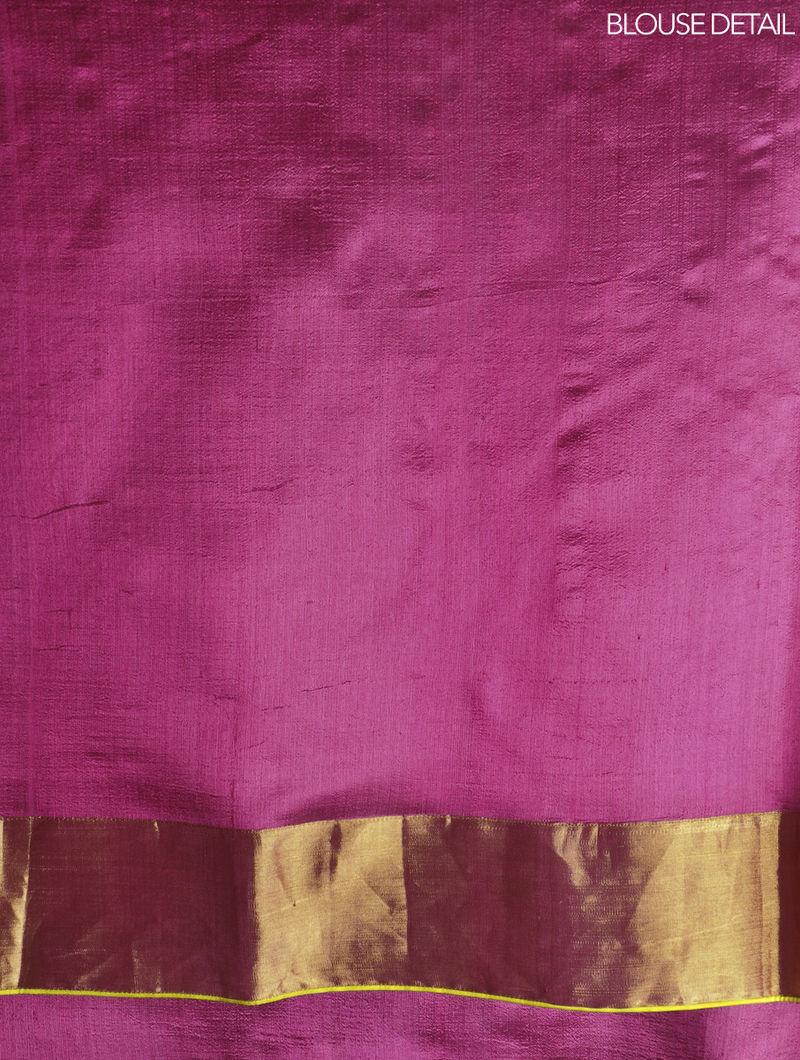 Pink Silk & Zari Marigold Saree by Raw Mango