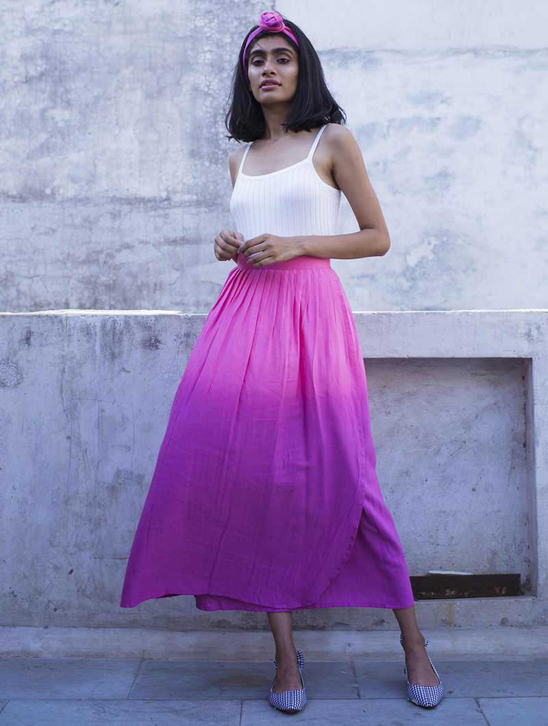5252c0a72d Pink Pleated Ombre Handloom Khadi Skirt Skirts