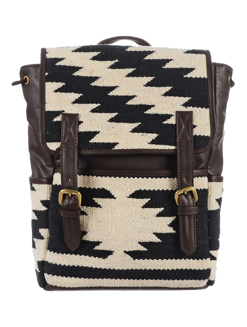 Black-White-Brown Hand woven Kilim Backpack 12.5in x 4in x 13in