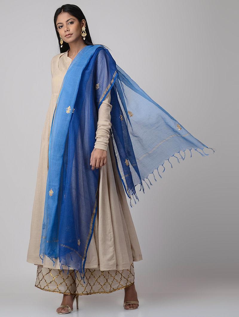 855d03f56bfc1e Blue Ombre-dyed Gota-patti Kota Doria Dupatta with Zari Border