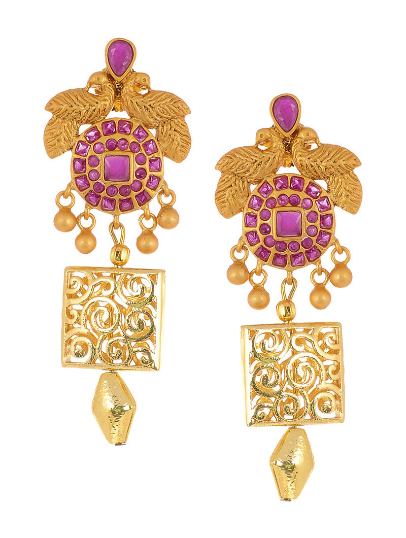 Pink Gold Tone Earrings with Peacock Design