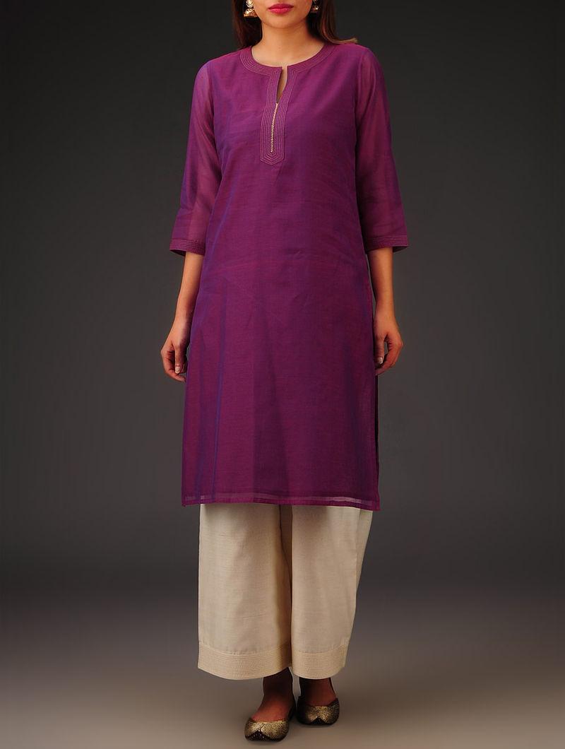 Purple Chanderi Zari Stitch Detailed Kurta