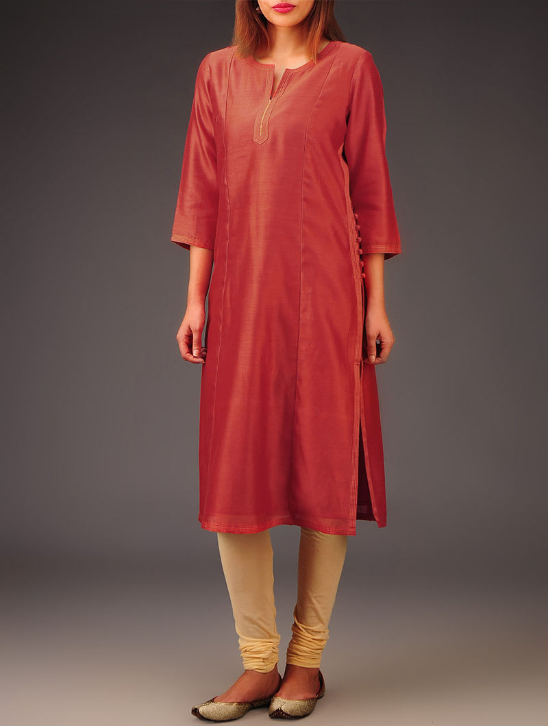 Red Chanderi Zari & Button Detailed Kurta
