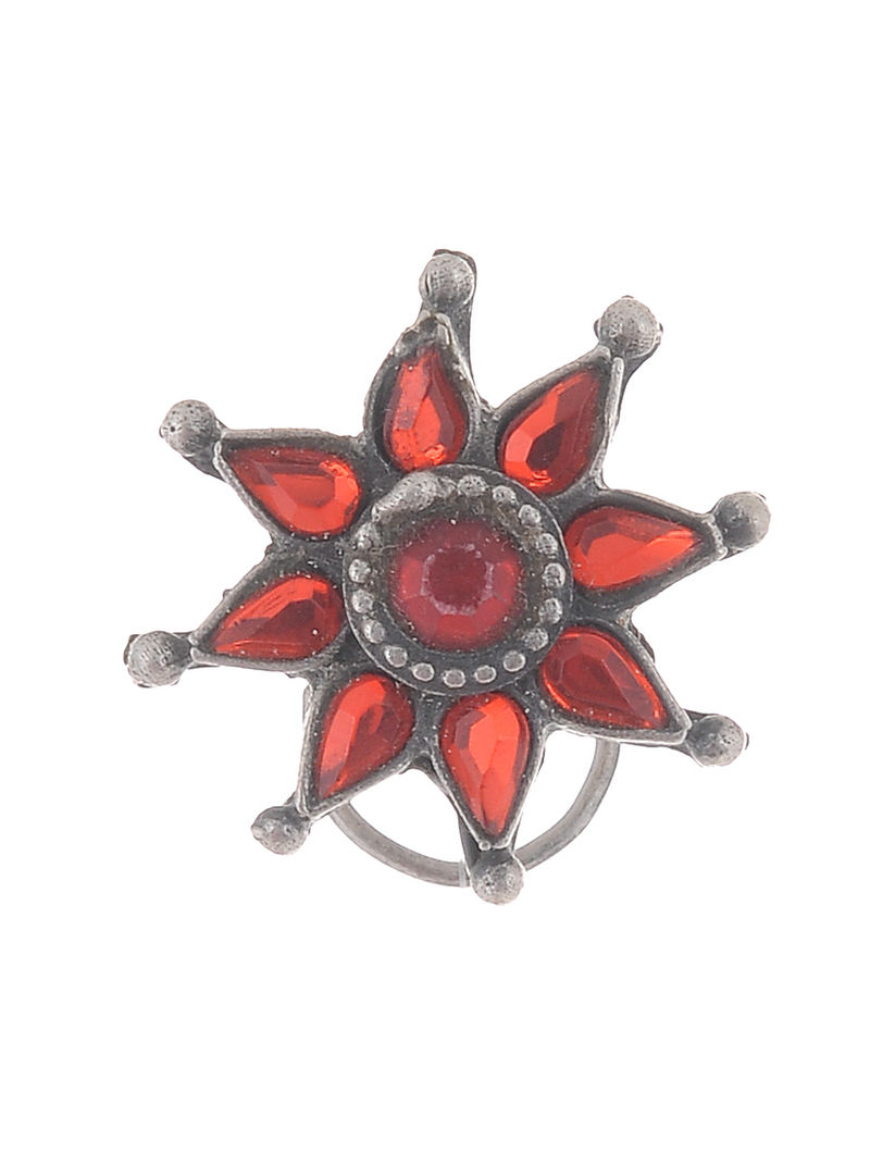 Red Glass Silver Nose Pin with Floral Motif