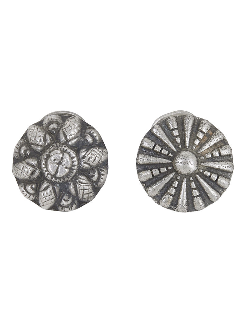 Floral Silver Nose Pins (Set of 2)
