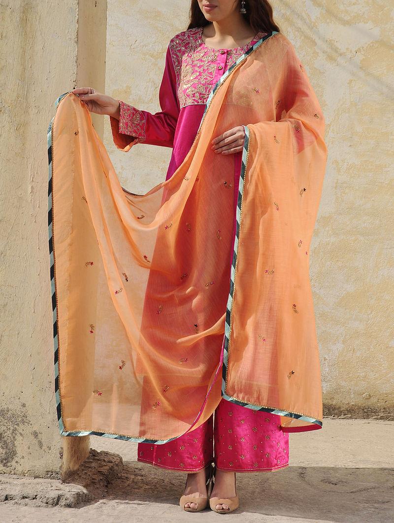 4a53eb65d040 Light Orange Chanderi Dabka Floral Buti With Zari Sequin Lace Dupatta
