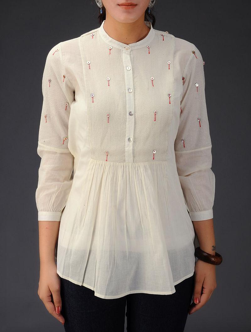 Pintuck & Button Detailed Cotton Voile Top