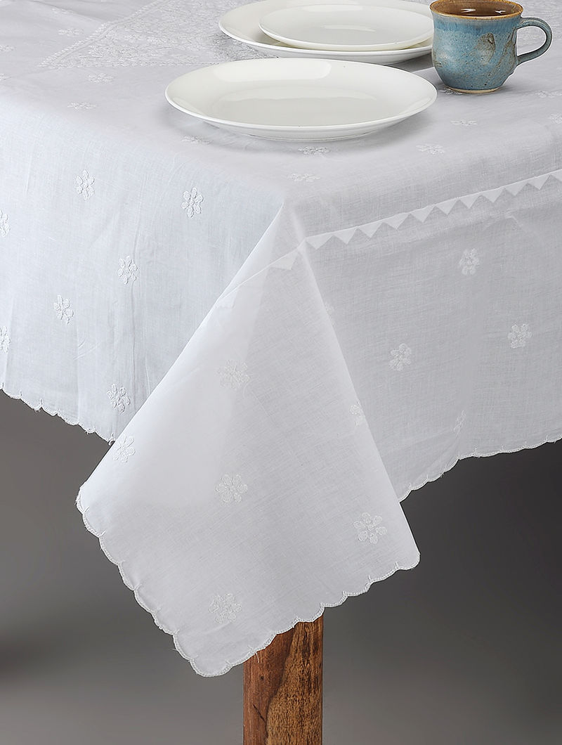 White Chikankari Cotton Table Cover with Floral Motif