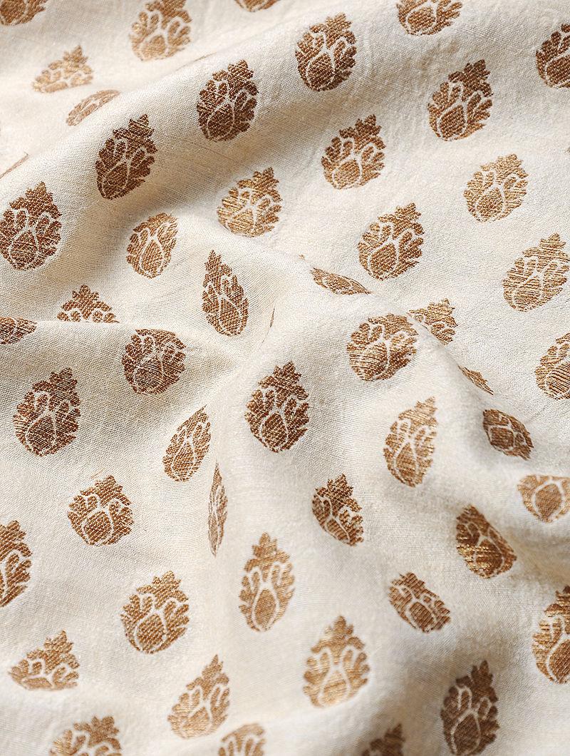 Ivory Benarasi Muga Tussar Silk Fabric with Zari Booti