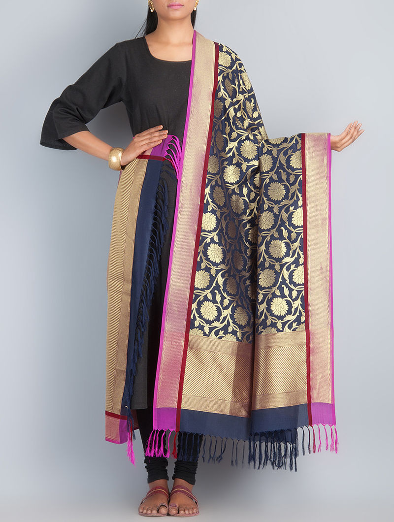 Navy Blue-Golden Handwoven Silk Dupatta by Shivangi Kasliwaal