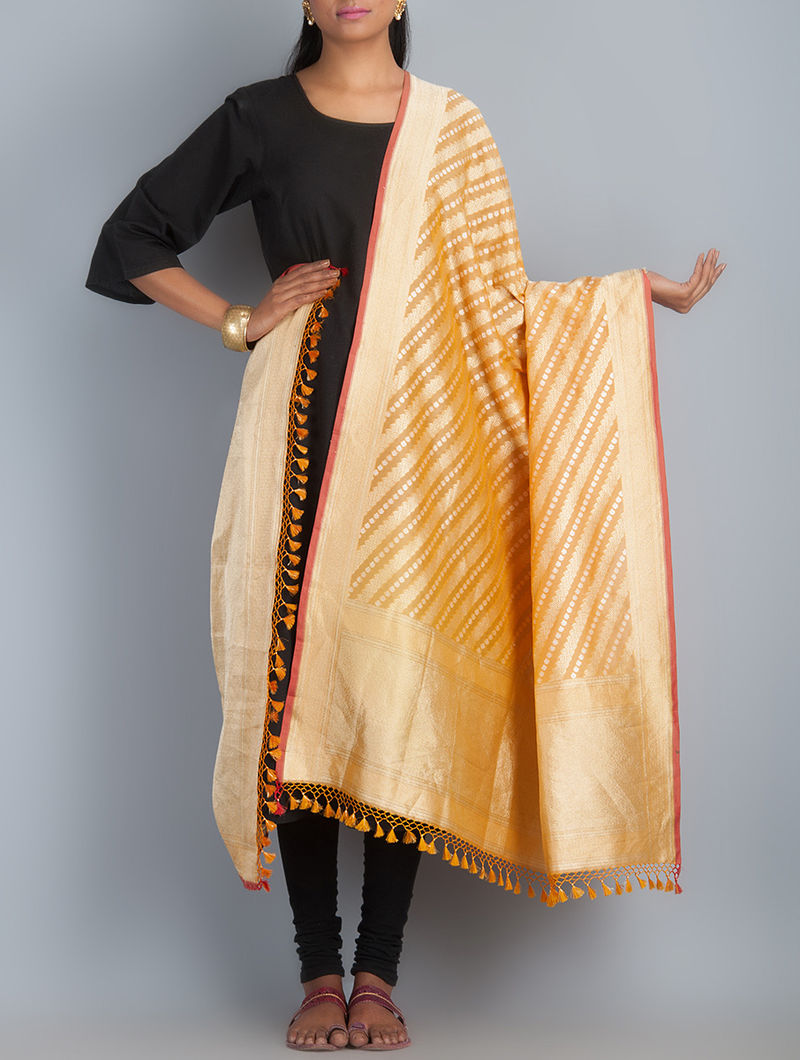 Orange-Golden Handwoven Silk Dupatta by Shivangi Kasliwaal