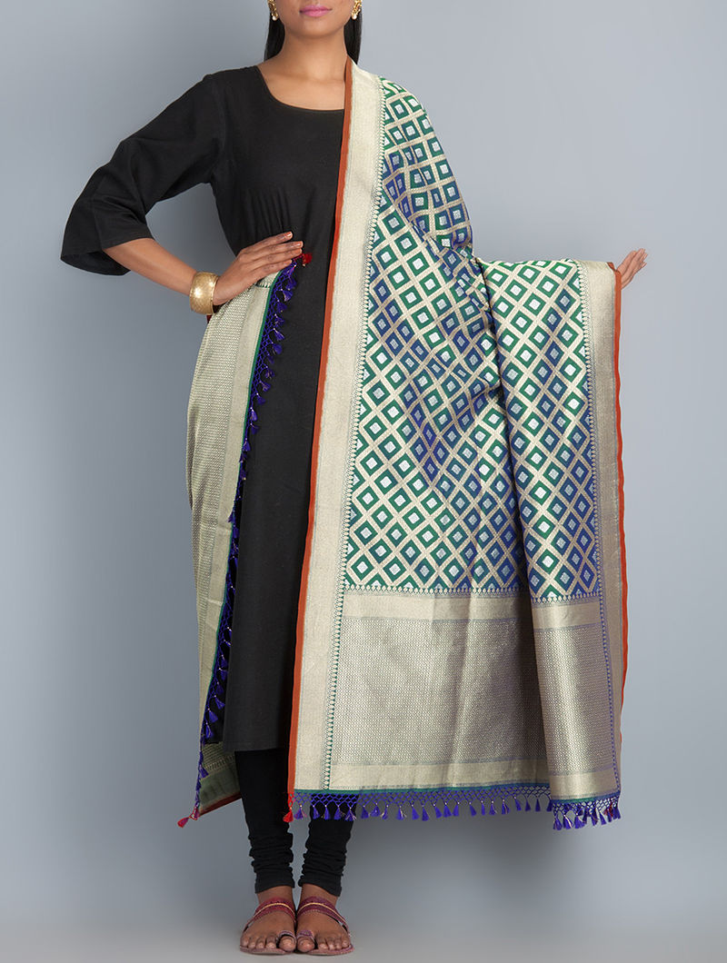 Green-Golden-Blue Handwoven Silk Dupatta by Shivangi Kasliwaal