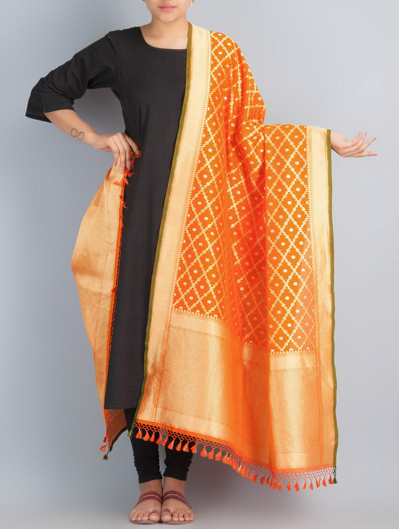 Orange-Golden Handwoven Silk Dupatta by Shivangi Kasliwaal