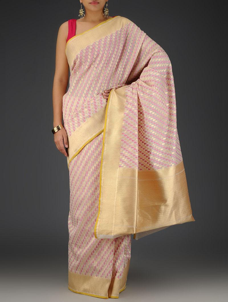 Ivory-Pink Cotton Brocade Zari Handwoven Saree