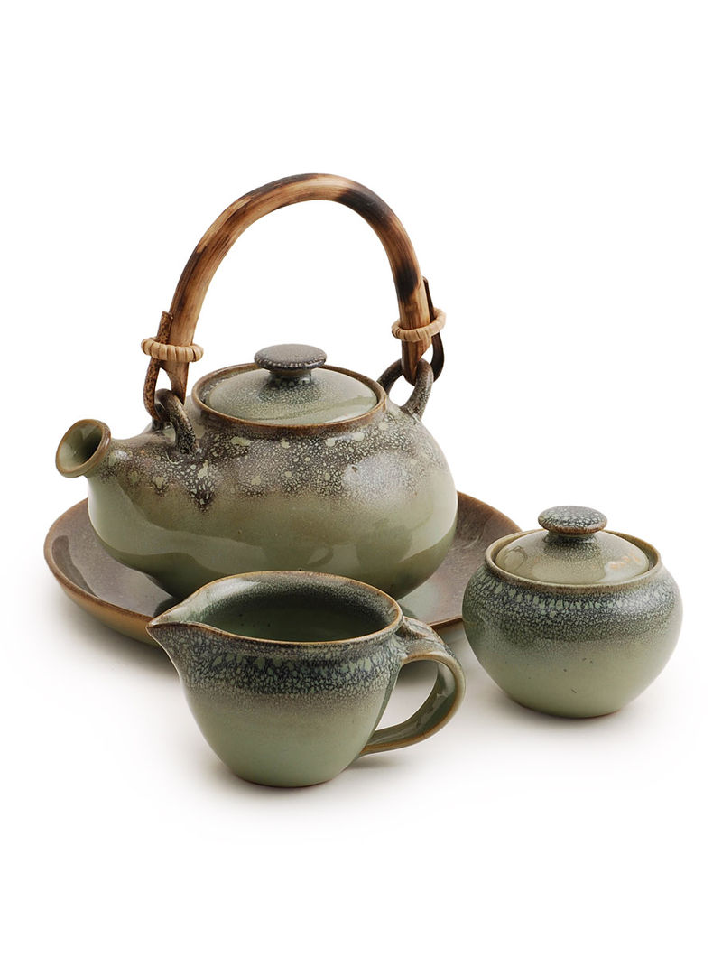 Dark Sage Tea Set of 4