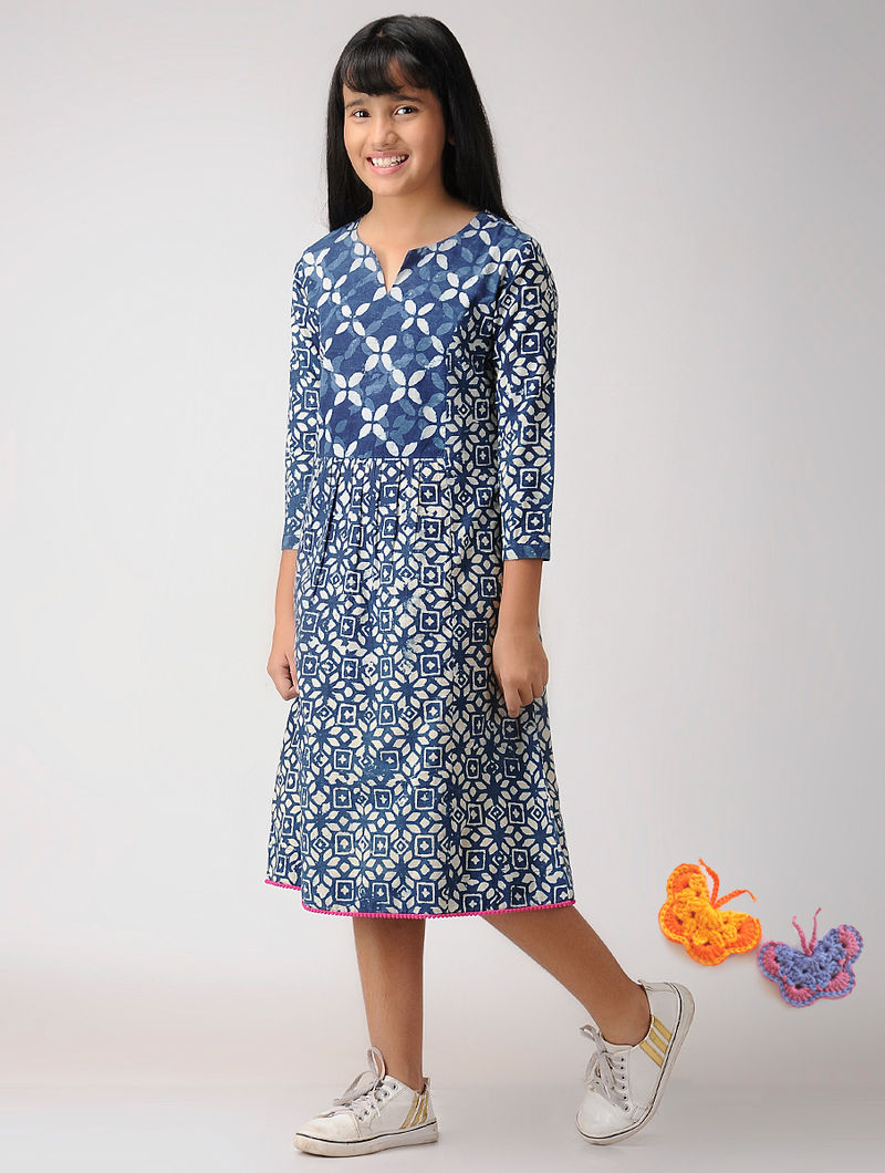 0e081d3d4ca1 Indigo Hand Block-Printed Cotton Dress Dresses Jumpsuits