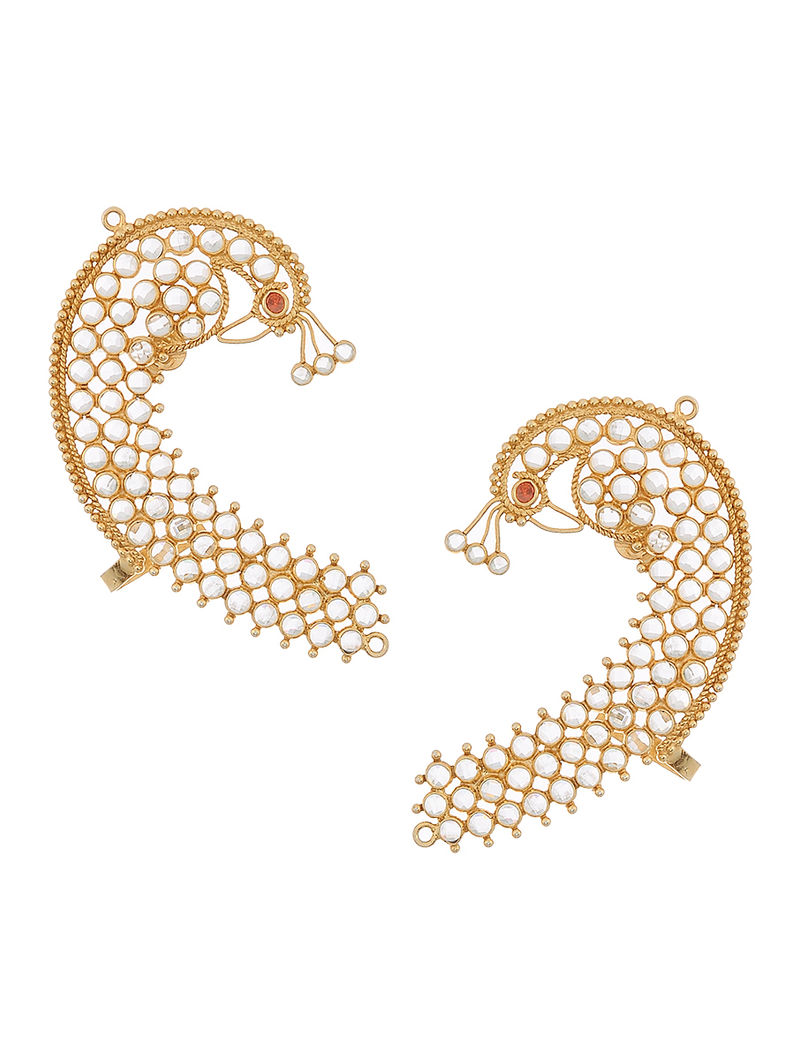 20c9f3aa3 Crystal Gold-plated Silver Ear Cuffs with Peacock Design