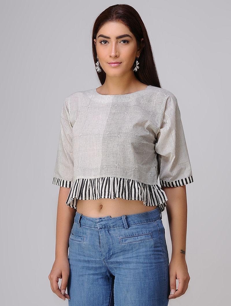 3e4240c75baaf Ivory-Black Block-printed Cotton Crop Top