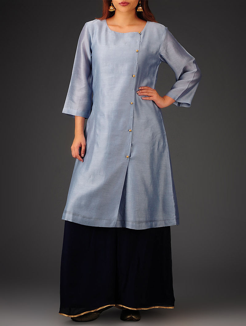 Grey Button Detailed Chanderi Kurta
