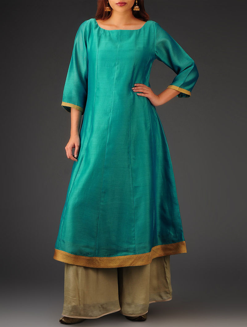 Green, Golden Kalidar Chanderi Kurta