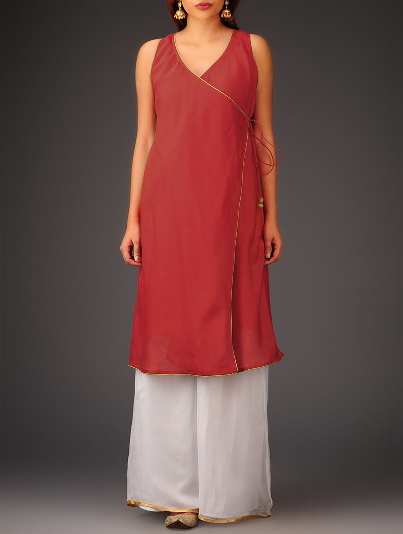 Red Sleeveless Angrakha Chanderi Kurta