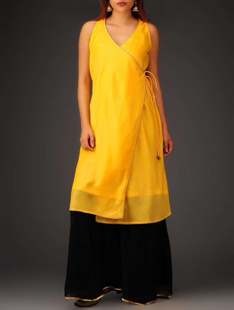 Yellow Sleeveless Angrakha Chanderi Kurta