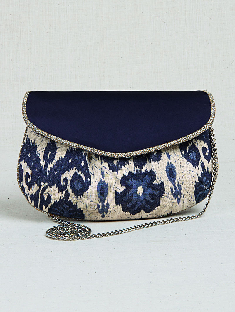 264d562bdf5 Blue-Off White Ikat Print Metal Chain Sling Bag