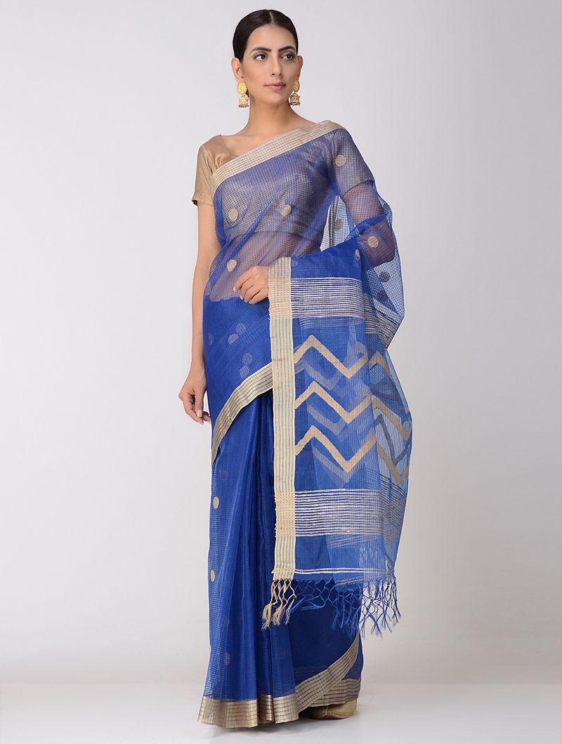3ad8b968fd Blue Dhakai Kota Muslin Saree with Ghicha Woven Sarees