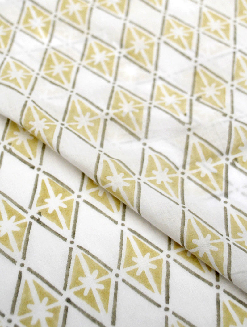 Straw Cotton Floral Diamond Design Fabric by YAMINI