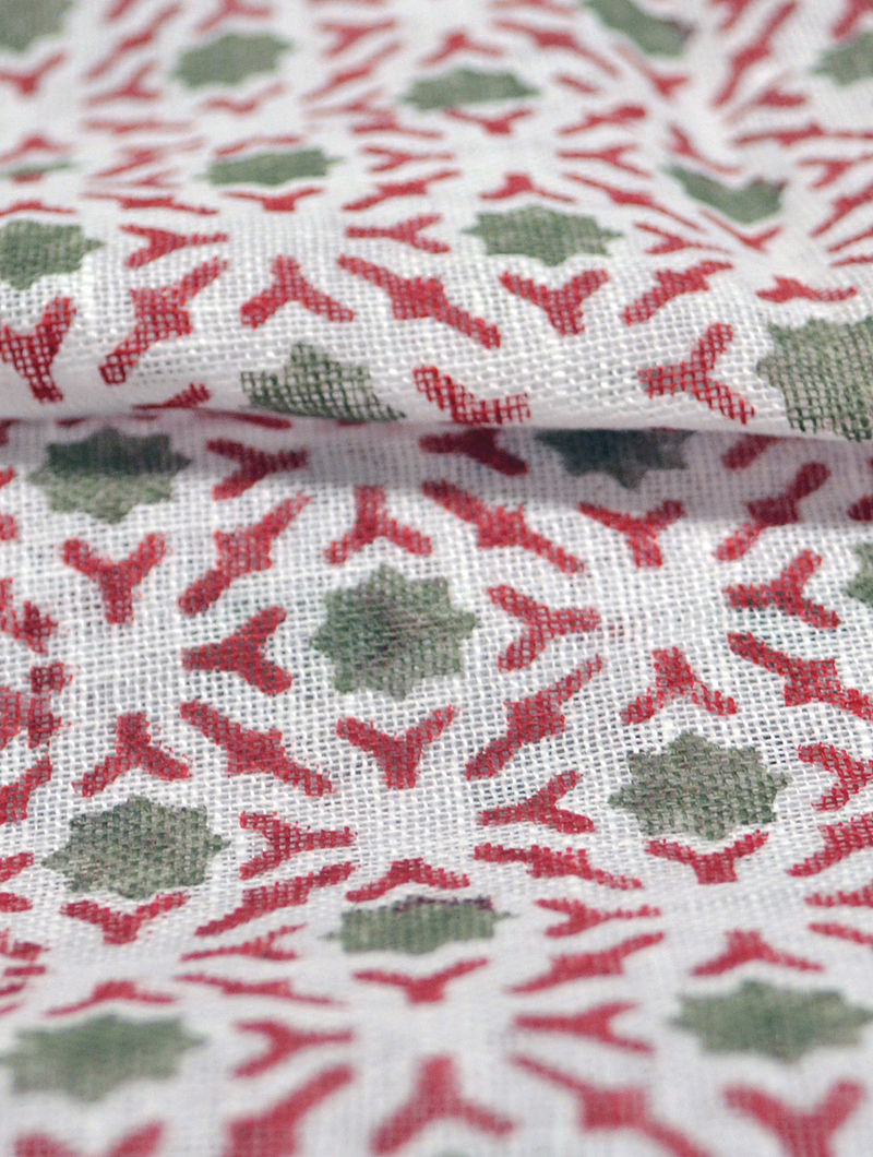Red Linen Broken Lattice Design Fabric by YAMINI