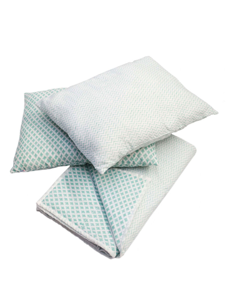 Double Sided Printed BabyQuilt and Baby Pillow-Set of 3