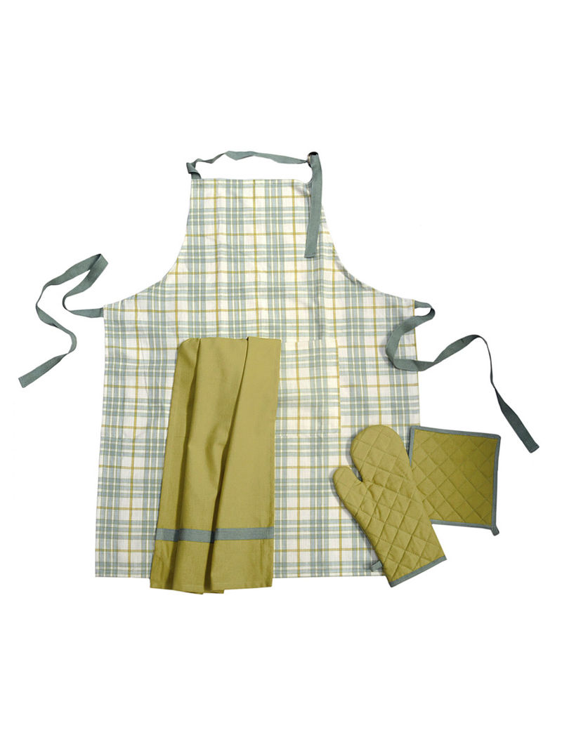 Check & Plain Apron-Set of 3
