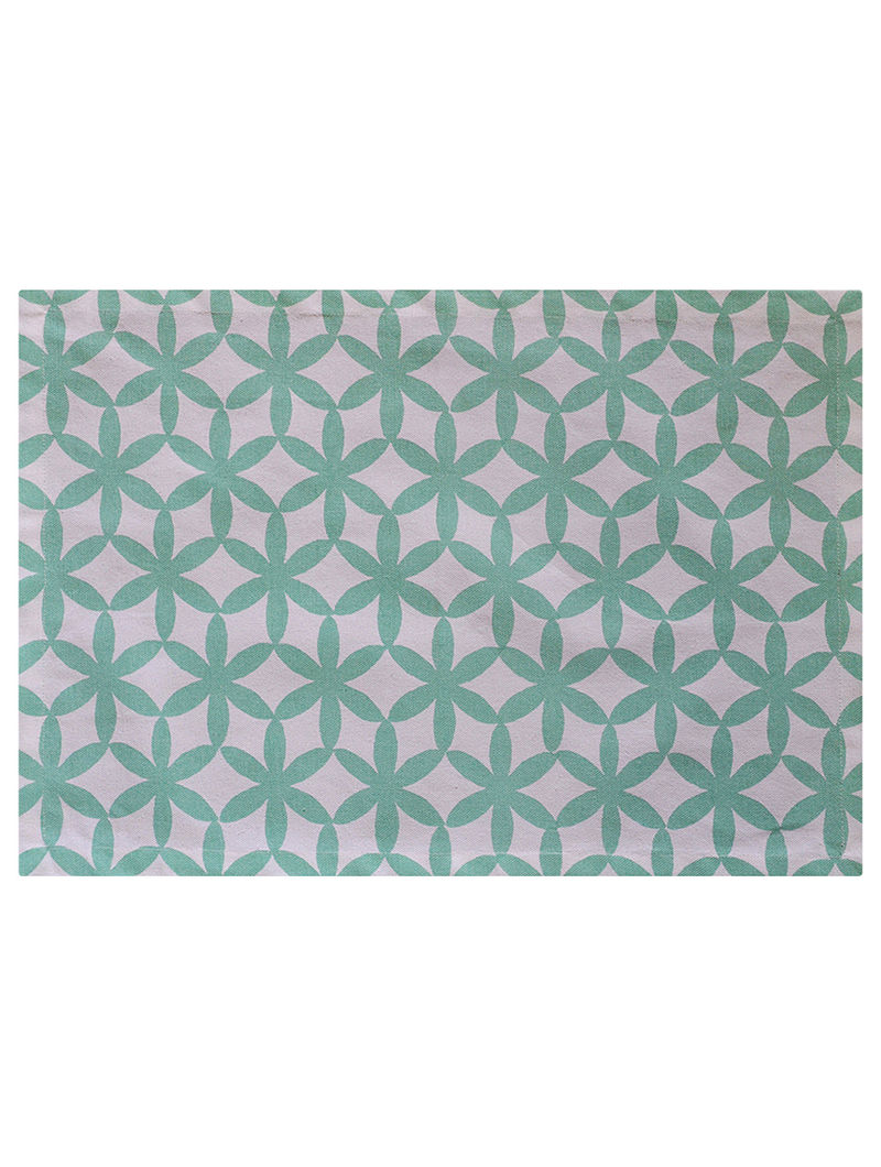 White-Sea Green Floral Printed Cotton Placemats (Set of 6)