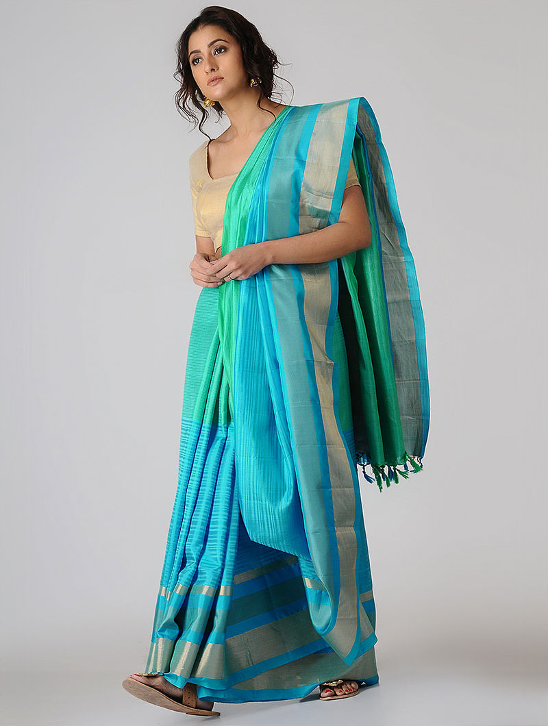 9cba1a68ba30e Turquoise-Sea Green Silk Saree with Zari