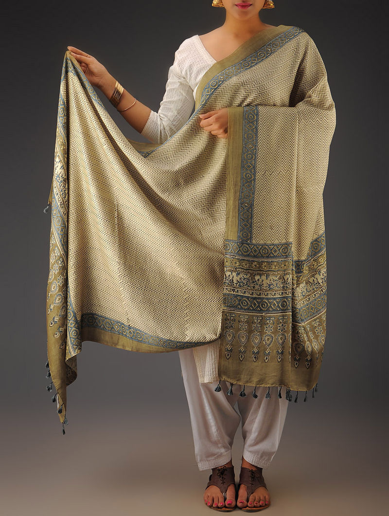 Olive Block-printed Cotton Kurta