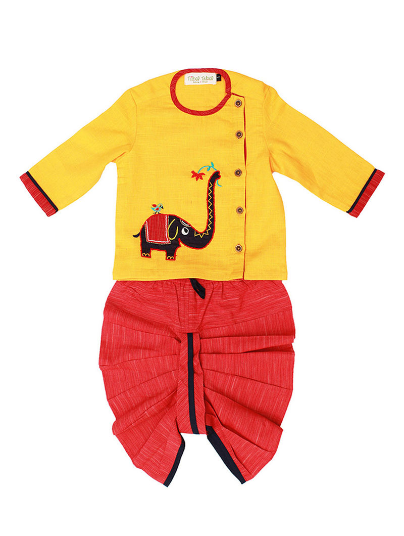 14ce1436c69ff Yellow-Red Cotton Kurta with Embroidered Elephant and Elasticated Waist  Dhoti SALE shop child products