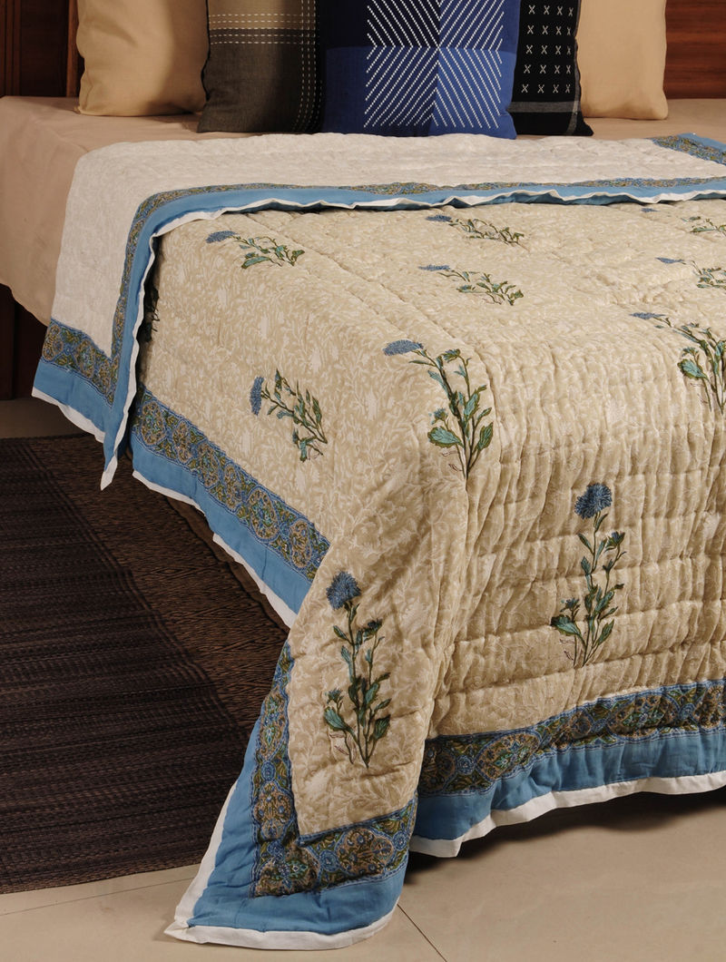 Blue Hand Block Printed Reversible Single-Bed Quilt 92in X 65in