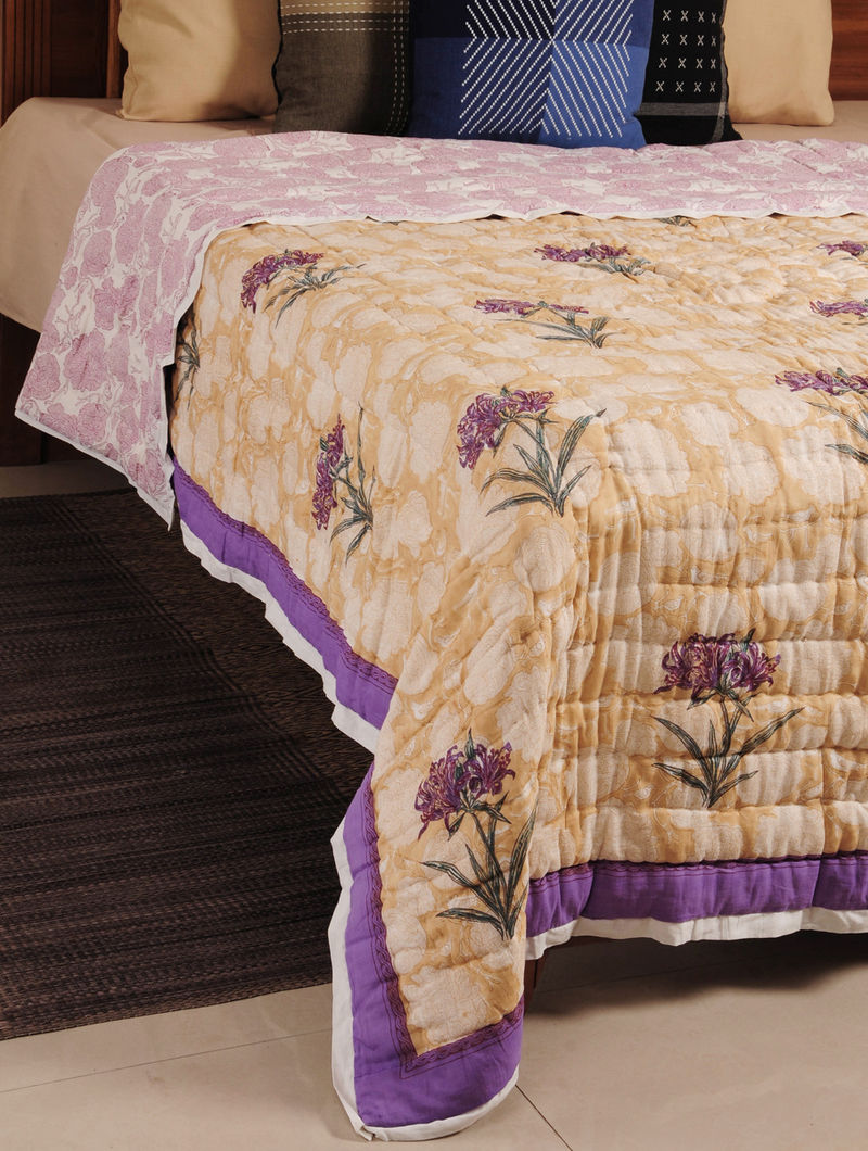 Purple Hand Block Printed Reversible Single-Bed Quilt 90in X 66in