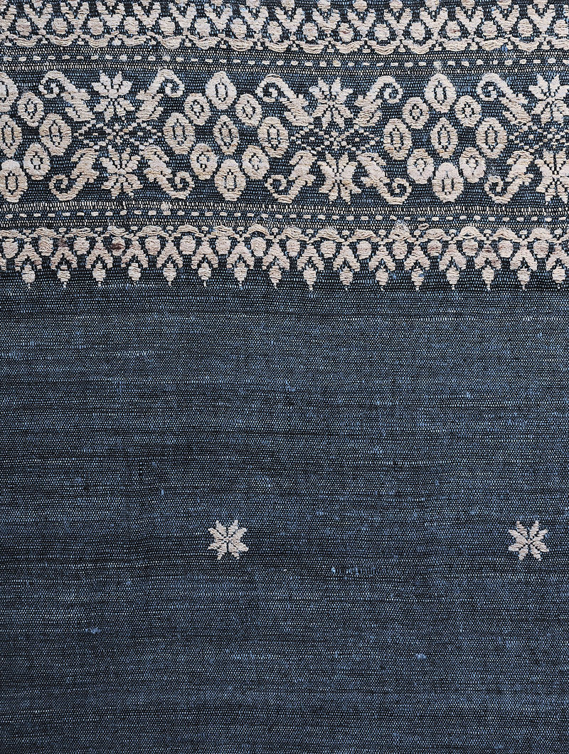 b519ec740 Indigo-Beige Natural-dyed Eri Silk Shawl with Assamese Motifs and Tassels