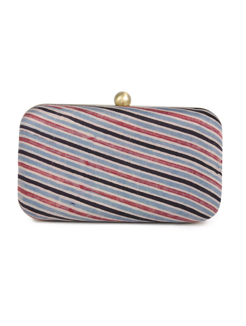 Blue - Black Stripes Gajji Silk Large Clutch - By Jaypore