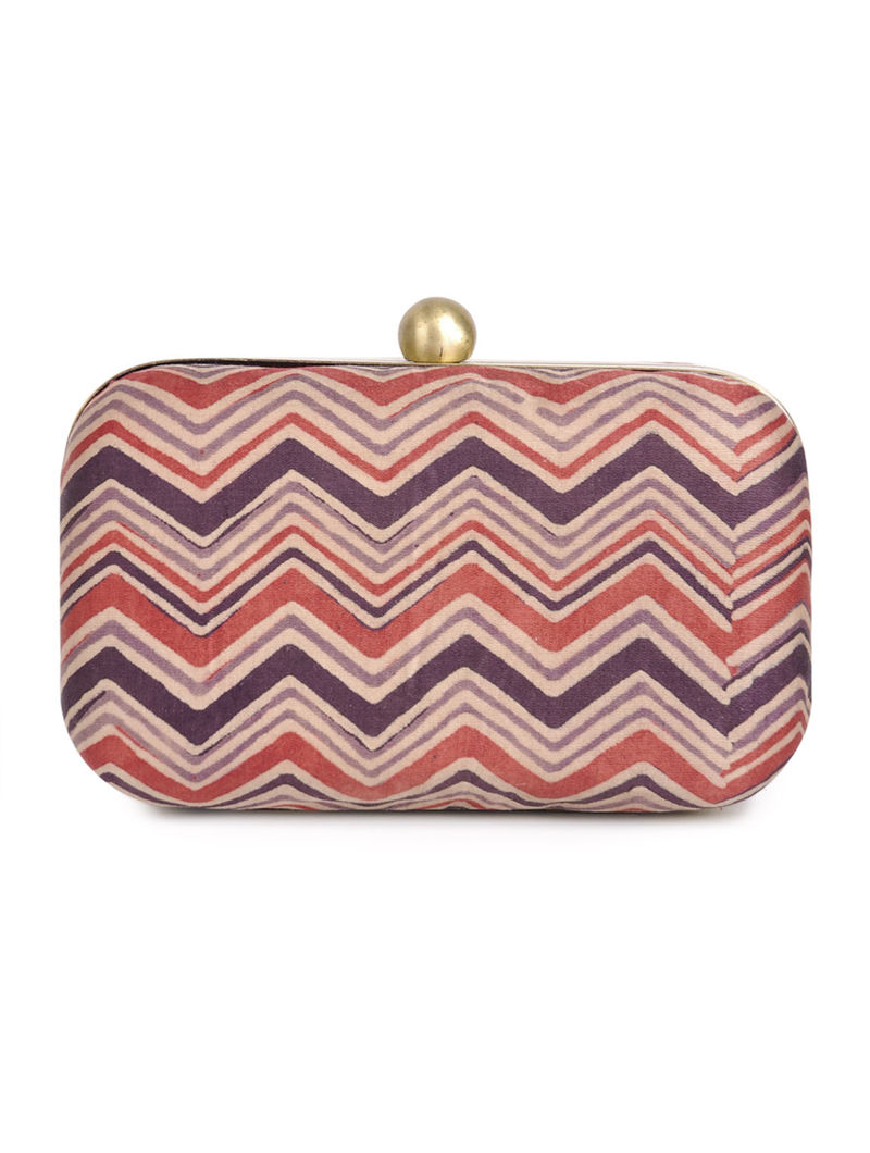 Red - Beige Zig-Zag Gajji Silk Small Clutch - By Jaypore