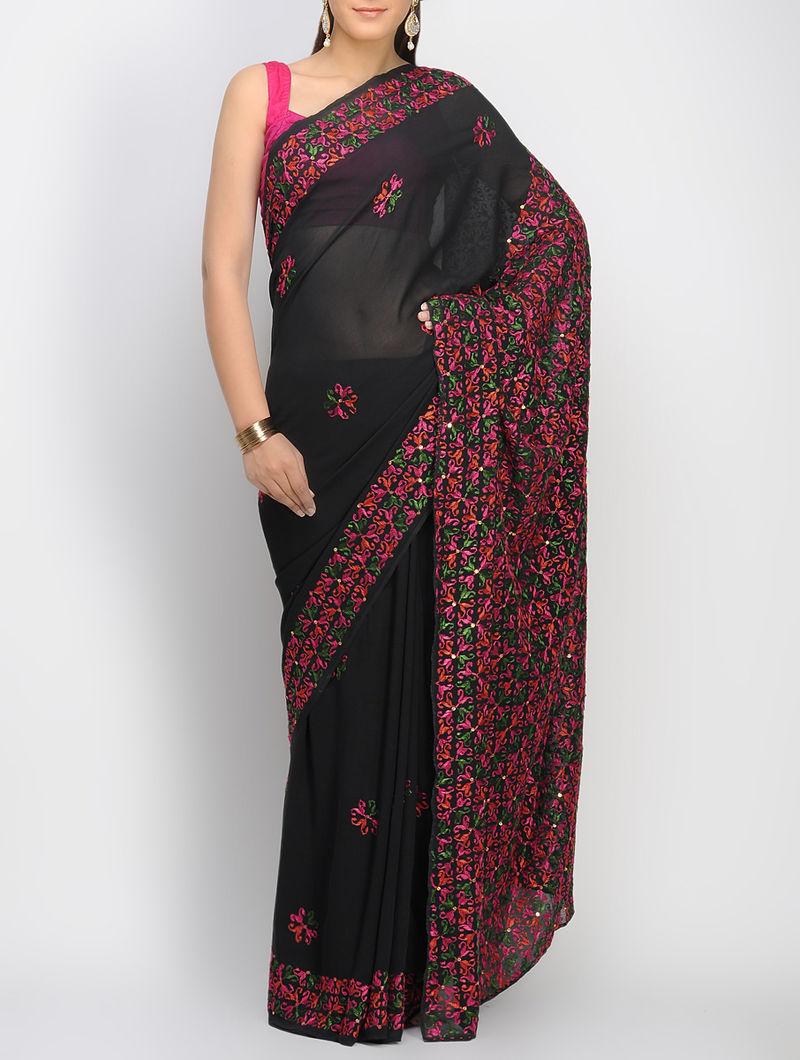 Black-Multi-Color Crepe Sequins Phulkari Saree