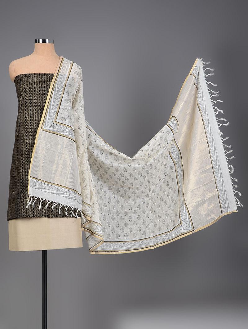 a417c26fec Black-Beige Handloom Maheshwari Block-printed Suit Fabric with Dupatta (Set  of 3